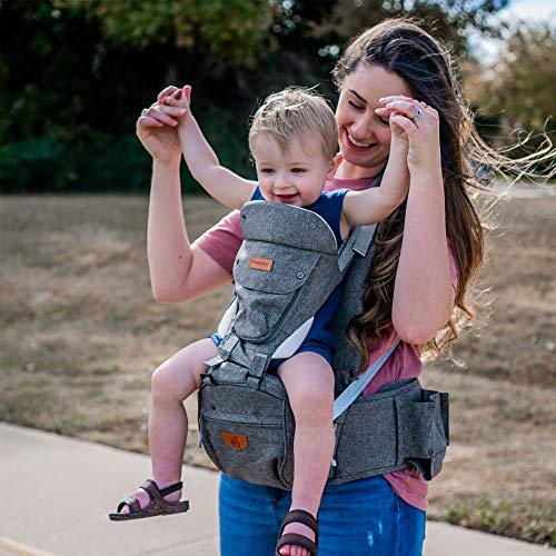 honeyroo Baby Carrier, Joey Classic, Ergonomic 3D Hip Seat, Light Weight and Breathable - Approved by U.S. Safety Standards, 6 in 1 Position Design, 3-36 Months, Front and Back Carry, Platinum Gray