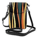 Bolso de hombro cruzado para mujer bolsa de teléfono colorido vintage ondas oscuro titular de la tarjeta dinero organizador bolso bolso pu cuero