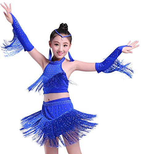 Happy Cherry Kid Girls Shiny Dance Outfits Latin Salsa Tango Dance Class Clothes Practice Costumes Team Uniforms, Blue, 10-11Y