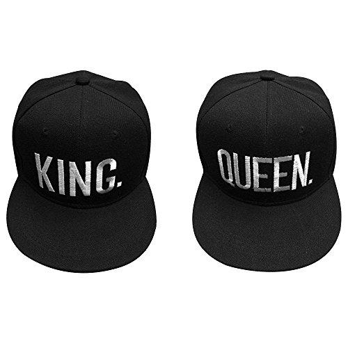 King & Queen Gorra de Béisbol, 2 Piezas Gorra Ajustable Gorra de Béisbol, Gorras de Camuflaje para Mujeres Amantes de Unisex Parejas Gorra Bordada Gorra de Béisbol (Negro)