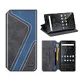 MOBESV Smiley BlackBerry Key2 Hülle Leder, BlackBerry Key2 Tasche Lederhülle/Wallet Hülle/Ledertasche Handyhülle/Schutzhülle für BlackBerry Key2, Schwarz/Dunkel Blau