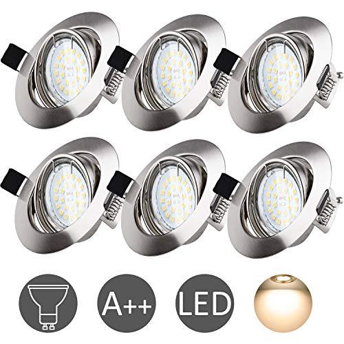 Foco Empotrable LED GU10, Wowatt 6 x Luz de Techo 6W Equivalente a Halogeno 50W Incluye AC 220V Bombilla Interior Blanco Cálido 2800k 600lm Ojos De Buey Marco Redondo Esmerilado Ángulo Rotable 40°