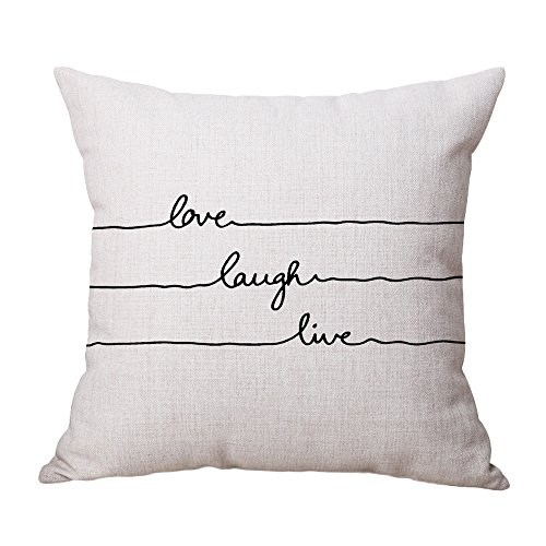 GDBEST Decorative Pillow Cover Love Theme Print Pillow Case Fashion Style Cotton Linen Creative Lovely Square Throw Waist Pillowcase for Sofa Chair Car Seat Home Decor Cushion Cover (18' x 18')