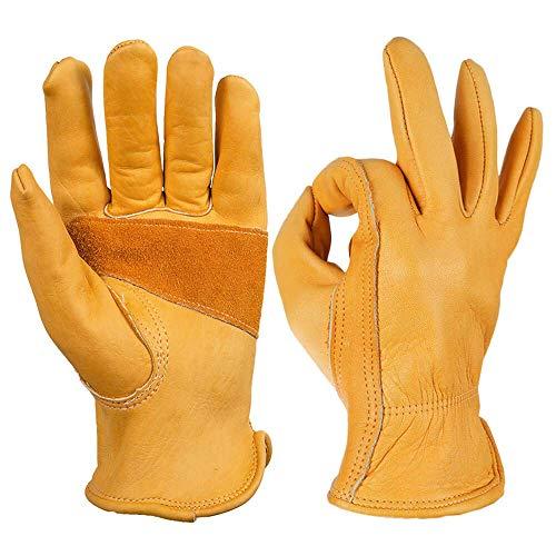 OZERO Gartenhandschuhe,Lederarbeitshandschuhe zum Arbeiten,3 Paar
