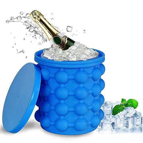 Ice Cube Maker, Silikon Eiswürfelform Eiswürfelbehälter mit Deckel Eiseimer Silikon Eiskübel Platzsparende Groß eis FüR Whiskey, Cocktail Und Jedes GeträNk BBQ (L)