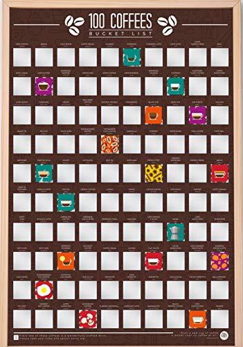 Gift Republic 100 Coffees Bucket List Scratch Poster, 42 x 60 cm
