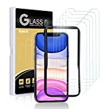 Aupek (5 Pack) iPhone 11 / iPhone XR Glass Screen Protector (6.1'), HD Clarity Tempered Glass Film 9H Hardness/Case-friendly Edge/Installation Frame Compatible for iPhone 11/iPhone XR, Anti Scratch