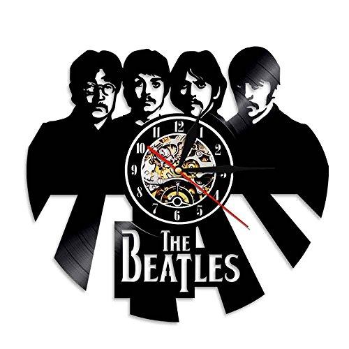 Reloj de pared de vinilo de la vendimia Reloj de pared, creativo LED The Beatles Theme Gift Lighting Decorative Mute Wall Clock Black 12 pulgadas, sala de estar interior dormitorio,Without light