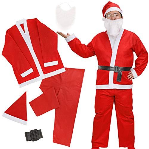 HOWAF Disfraz de Papá navideño para Hombre, 5 Piezas Traje de Cosplay navideño, Traje de Papá Noel para Adultos + Gorro de Papá Noel Rojo + Barba de Papá Noel (Talla única)