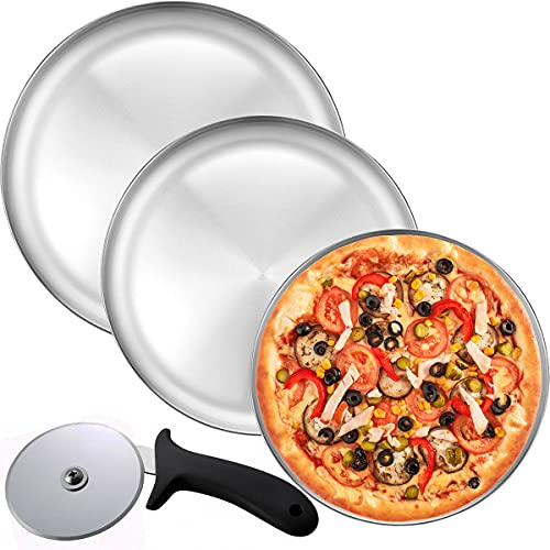 Pizza Pan and Pizza Cutter Set, Includes - Three 14 Inch Pizza trays + Pizza Cutter Wheel - Durable Non-Stick Aluminum Bakeware, for Restaurants and Homemade Pizza Baking, Dishwasher Safe