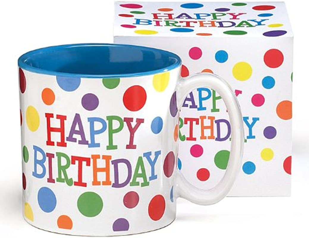 Happy Birthday Polka Dot Mug Ceramic Bright Colors