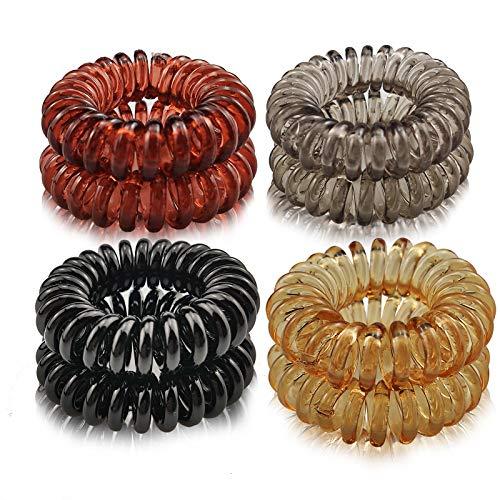 Ealicere 8 PCS 4 colori Fasce Elastici per Capelli Legami di Capelli Elastic, Capelli mituso gomma (Spirale plastica), cavo telefonico