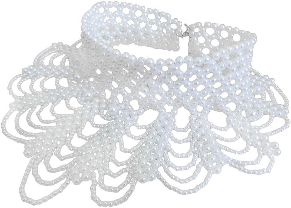 Vpang Detachable Elegant Pearl Beaded False Collar Choker Necklace Peter Pan Necklace