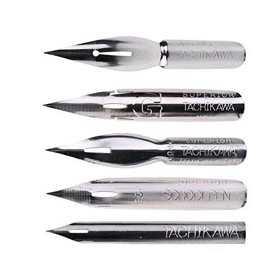 Set de plumillas estilográficas Tachikawa, de MyLifeUNIT. El paquete incluye: Una pluma G, una pluma Saji, una pluma escolar, una pluma Nipponji, una pluma Maru. Paquete original Tachikawa de MyLifeUNIT. 5plumillas. El código de identificación de es...