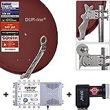 DUR-line 8 Teilnehmer Set - Qualitäts-Alu-Satelliten-Komplettanlage - Select 75cm/80cm Spiegel/Schüssel Rot + Multischalter + LNB - für 8 Receiver/TV [Neuste Technik, DVB-S2, 4K, 3D]