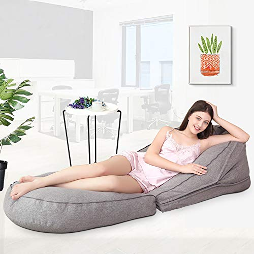 Bean Bag Lounge stoel voor woonkamer, opklapbare grijze ligbank 170 * 63 cm, grote zitzak voor volwassenen woonkameraccessoire ideaal cadeau