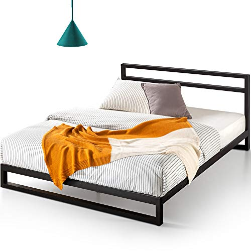 ZINUS Trisha Metal Platforma Bed Frame with Headboard / Wood Slat Support / No Box Spring Needed / Easy Assembly, Queen,Black