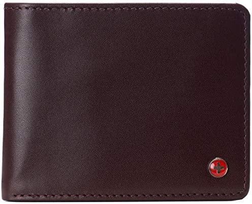 Alpine Swiss Mens Connor RFID Bifold Wallet Passcase Smooth Leather Comes in a Gift Box Burgundy product image