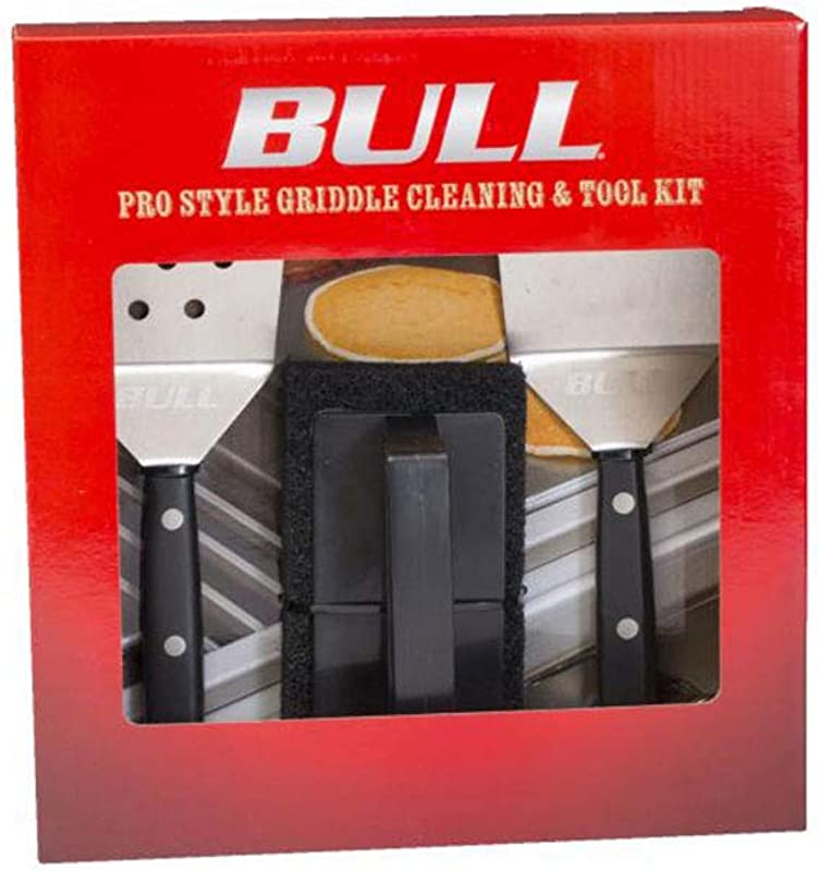 Bull Pro Style Griddle Cleaning And Tool Set With Scrubber Scraper And Spatula