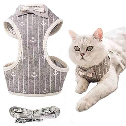 MXiiXM Cat Harness and Leash for Walking, Escape Proof Soft Cat and Small Dog Harness Adjustable Vest Harnesses for Cats - Easy Control Breathable Jacket for Pet Kitten Puppy Rabbit (Medium, Gray)