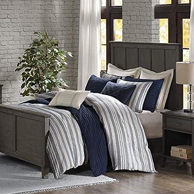 "MADISON PARK SIGNATURE Farmhouse 9 Piece Woven Jacquard Design Comforter Set for Bedroom, King(110""x96""), Stripe Blue"