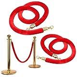 Liwein 2 pz Cuerda de Barrera Rojo Velvet Línea de Cola de Espera Cuerda Delimitadora Control de Multitudes Cordón de Amarre con Gganchos Cuerda de Ampliación para Limitador De Paso