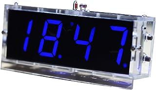 KKmoon kompakt 4-siffrig gör-det-själv digital LED-klocka sats ljusstyrning temperatur datumtid display med genomskinligt ...