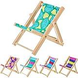 Skylety 5 Pieces Mini Wooden Beach Chair Cell Phone Holder Mini Folding Chairs Mini Deck Chair Longue Deck Chair Dollhouse Furniture Miniature Scene Accessories for 1:12 Dollhouse Decor