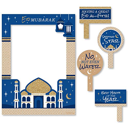 Ramadan - Eid Mubarak Selfie Photo Booth Picture Frame & Props - Printed on Sturdy Material