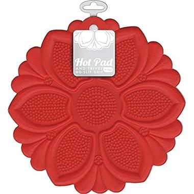 Talisman Designs No-Slip Grip Hot Pad, Red, Pot Holder, Spoon Rest, Jar Opener and Trivet, BPA-free Silicone