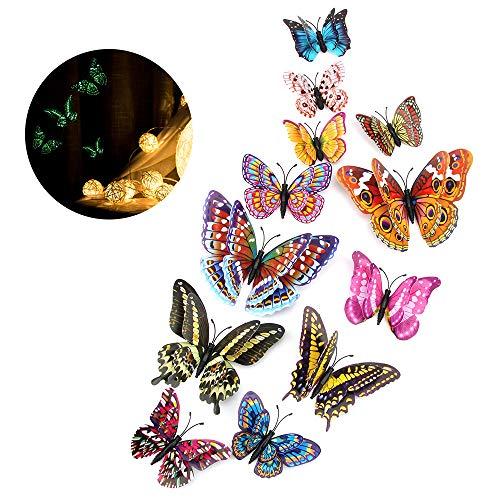 Wandaufkleber Schmetterling 12 Stück 3D Wandsticker Wandtattoo Wall Sticker für DIY Wohnzimmer Schlafzimmer Dekoration Baby Room Décor