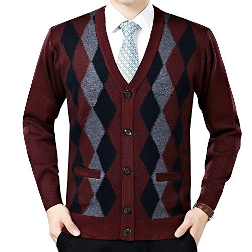 LINGMIN Men's Argyle V-Neck Cardigan Sweaters Casual Button Down Long Sleeve Sweater WineRed