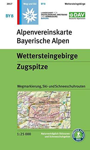 Wettersteingebirge, Zugspitze: Wegmarkierung und Skirouten - Topographische Karte 1:25.000 (Alpenvereinskarten)