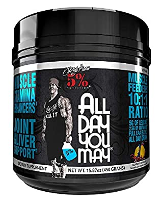 Rich Piana 5% Nutrition All Day You May 10:1:1 BCAA Powder, 9g of Amino Acids   Elite Muscle Recovery, Hydration, Lactic Acid Buffer, Joint Support   Sugar-Free, 16.4 oz, 30 Srvgs (Blueberry Lemonade)