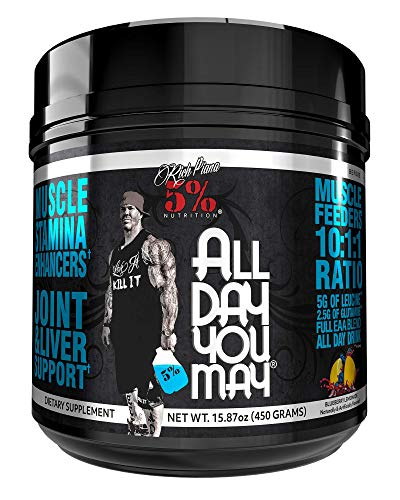 Rich Piana 5% Nutrition All Day You May Caffeinated 10:1:1 BCAA Powder, 9g of Amino Acids | Elite Muscle Recovery, Hydration, Lactic Acid Buffer, Joint Support | 16.7 oz, 30 Srvgs (Southern Sweet Tea)