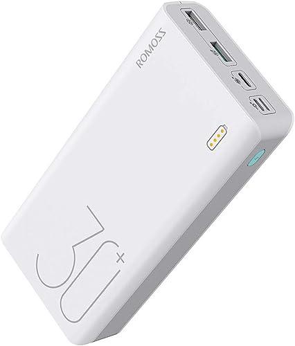 ROMOSS 18W 30000mAh Power Bank, with 3 Input Ports , 3 Output Ports (Type C 3A+Micro USB 2.4A+Micro USB 2.1A), Big Ca...