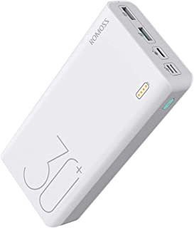 ROMOSS 18W 30000mAh Power Bank, with 3 Input Ports , 3 Output Ports (Type C 3A+Micro USB 2.4A+Micro USB 2.1A), Big Capacity Portable Charger, Fast Charging and Recharging External Battery Packs for Nintendo Switch, Samsung Galaxy(S9/S10 is not), iPhone 8/8P/X, iPad, Tablets and More