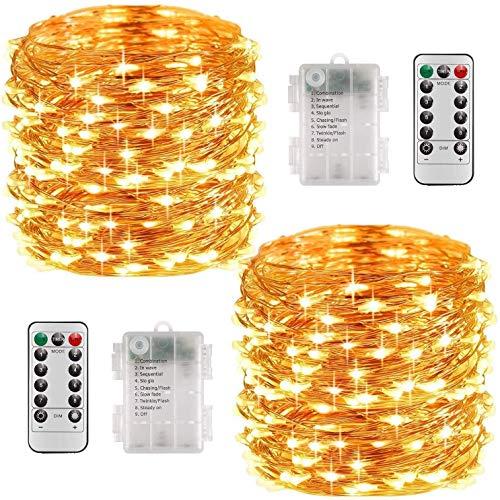 HEROPI LED-Lichterketten Batterien, 20M 200LED Leuchtgirlanden mit Fernbedienung, wasserdichte Innen- und Außenleuchten für Weihnachten, Zimmer, Party, Garten, Hochzeiten,Rasen,