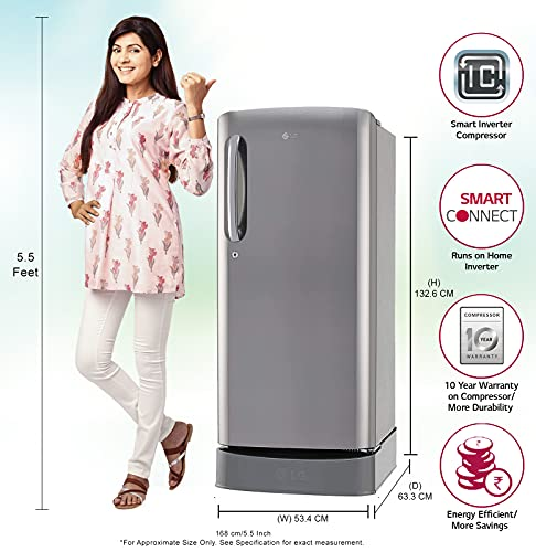 LG 190 L 4 Star Inverter Direct Cool Single Door Refrigerator (GL-D201APZY, Shiny Steel, Base Stand with Drawer) 2