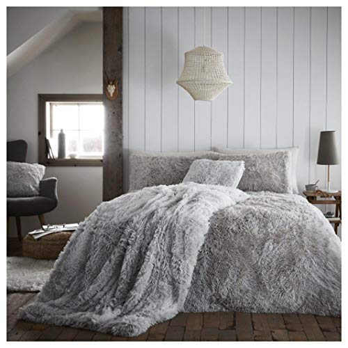 Hendem. Hug And Snug Duvet Cover Warm Cosy Bedding Set Shaggy Fur Fleece Quilt Cover & Pillowcase (Grey, King)