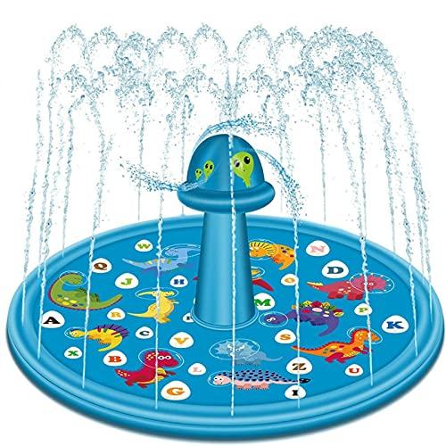 ZXJ Splash Pad 68' Sprinkler Tapis pour Enfants Tapis De Jeu Tout-Petits Animaux Jardin Pulvérisation d'eau Tapis De Sol Jouets Fun Cour Arrière Fontaine Garçons Et Filles