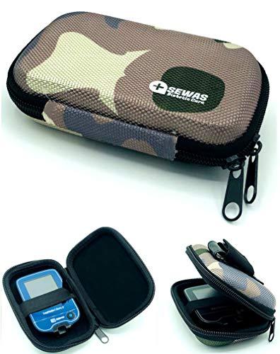 Tasche Hardcase für Freestyle Libre Messgerät 1 & 2, Gürteltasche Blutzuckermessgerät, Diabetikertasche Camouflage Tarnfleck ZENXEAY