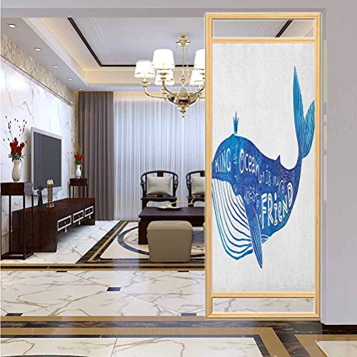 "W 23.6"" x L 35.4"" UV Glass Film Window Home Office Living Room,Kind of Ocean is My Best Friend Quote with Whale Fish Paintbrush Artsy Picture Violet Blue White"