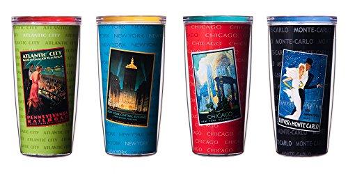 CASA BRUNO 'Vintage Cities' verres isothermes, 470 ml, avec couvercle - kit de 4
