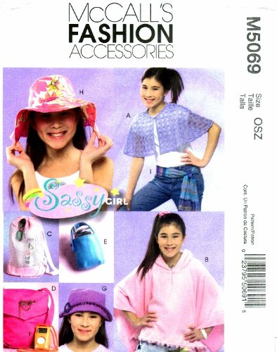 McCall's 5069 Sewing Pattern Girls Capelet Poncho Tote Backpack Cell Phone Holder MP3 Player Case Hat