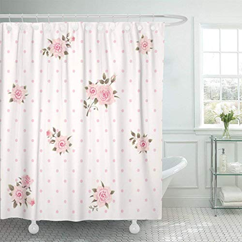 CdHBH Girlish Floral Polka Dot Shabby Chic Style Pattern with Pink Roses Exquisite Wedding Pattern Bathroom Shower Curtain Durable Easy to Clean Waterproof Fabric
