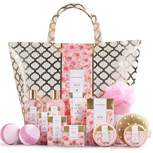 Spa Luxetique Coffret de Bain et de Soins, Coffret Cadeau pour Femme, 15 Pièces, Parfum de Rose, Bombes de Bain, Cadeau de Saint-Valentin et d'Anniversaire