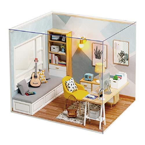 Puppenhaus holz zubehör bausatz DIY Dollhouse Kit Manuelle Montage Zusammengebaute Holzkabine Arbeitszimmer Modell Sunshine Study Holzmodell Baukasten für Kinder Weihnachtsgeburtstagsgeschenk