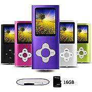 Btopllc Reproductor de MP3 Reproductor de MP4 Reproductor de música Digital Tarjeta de Memoria Interna de 16GB Reproductor de música portátil/Compacto MP3/MP4/Reproductor de Video - Viola e Bianco