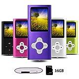 Btopllc Lettore MP3, Lettori audio portatili senza perdita di dati da 16 G, Lettore MP4, Lettore multimediale compatto e video portatile, Supporto per musica, Video,Ebook -Viola - Bianco